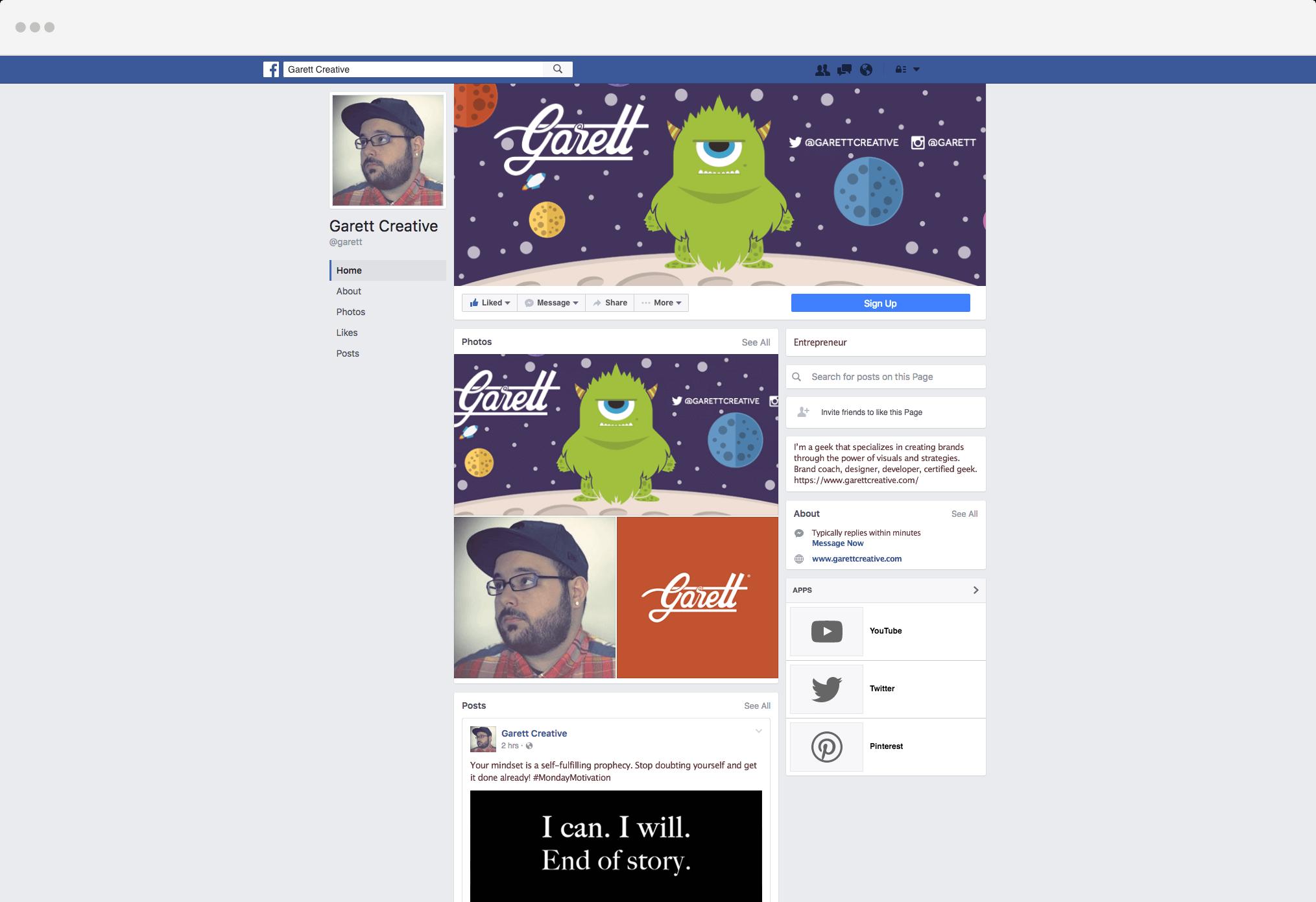 Garett's Facebook Page