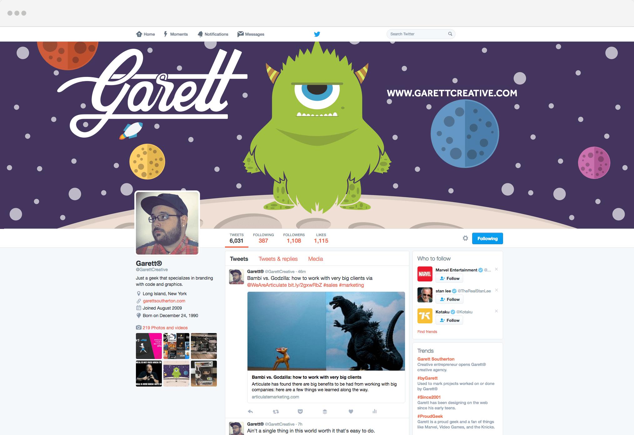Garett's Twitter Page