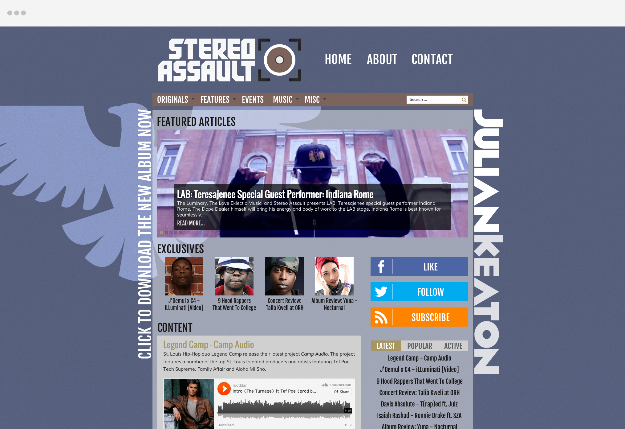 Stereo Assault Website Julian Keaton Promotion