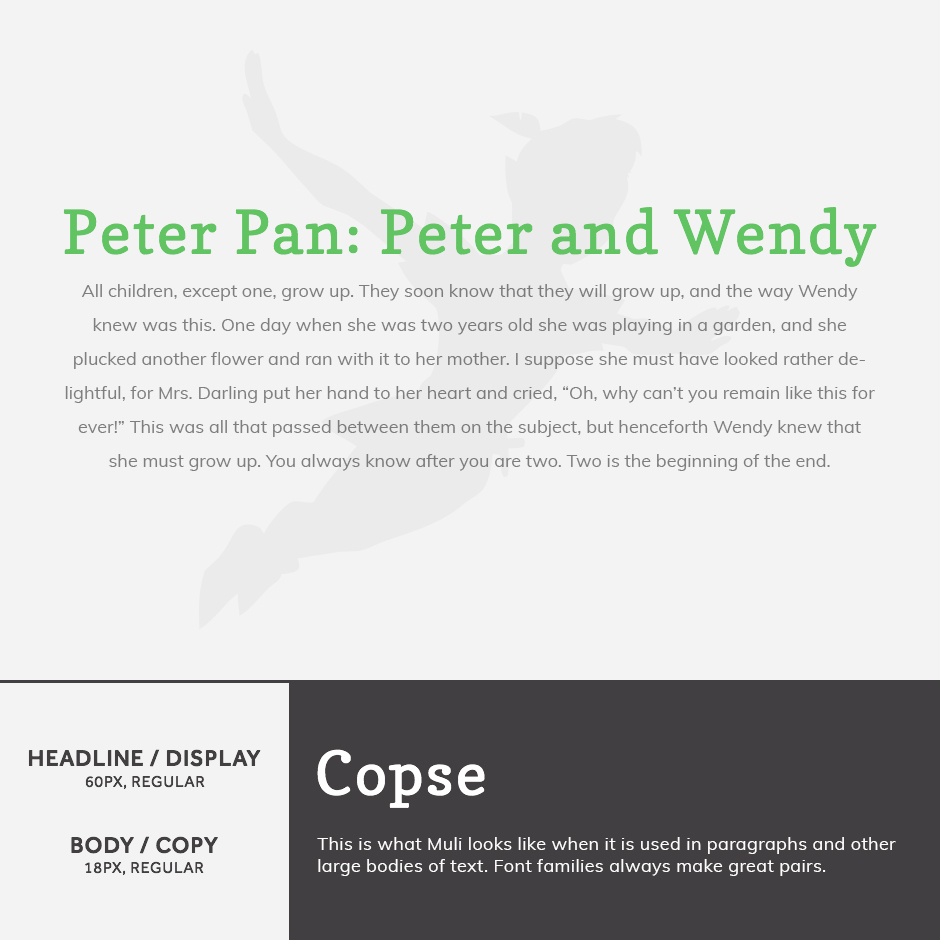 Copse + Muli - 21 Google Fonts Combinations For Websites