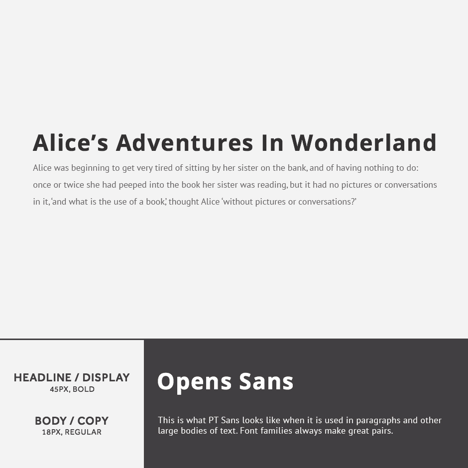Open Sans + PT Sans - 21 Google Fonts Combinations For Websites