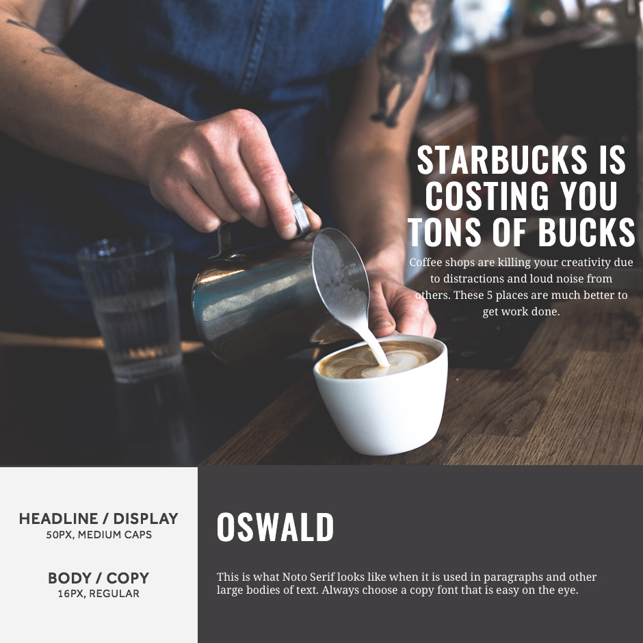 Oswald + Noto Serif- 21 Google Fonts Combinations For Websites