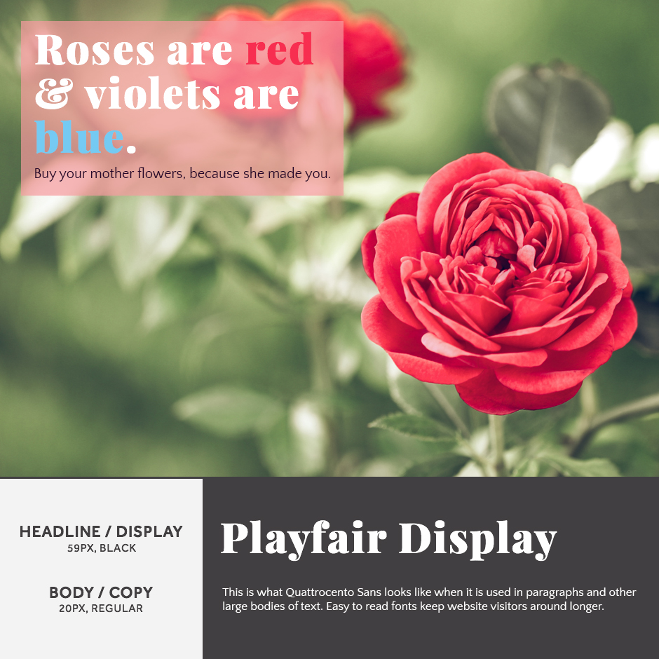 Playfair Display + Quattrocento Sans- 21 Google Fonts Combinations For Websites