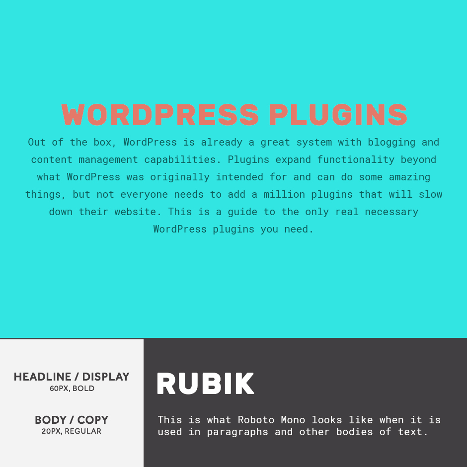 Rubik + Roboto Mono- 21 Google Fonts Combinations For Websites