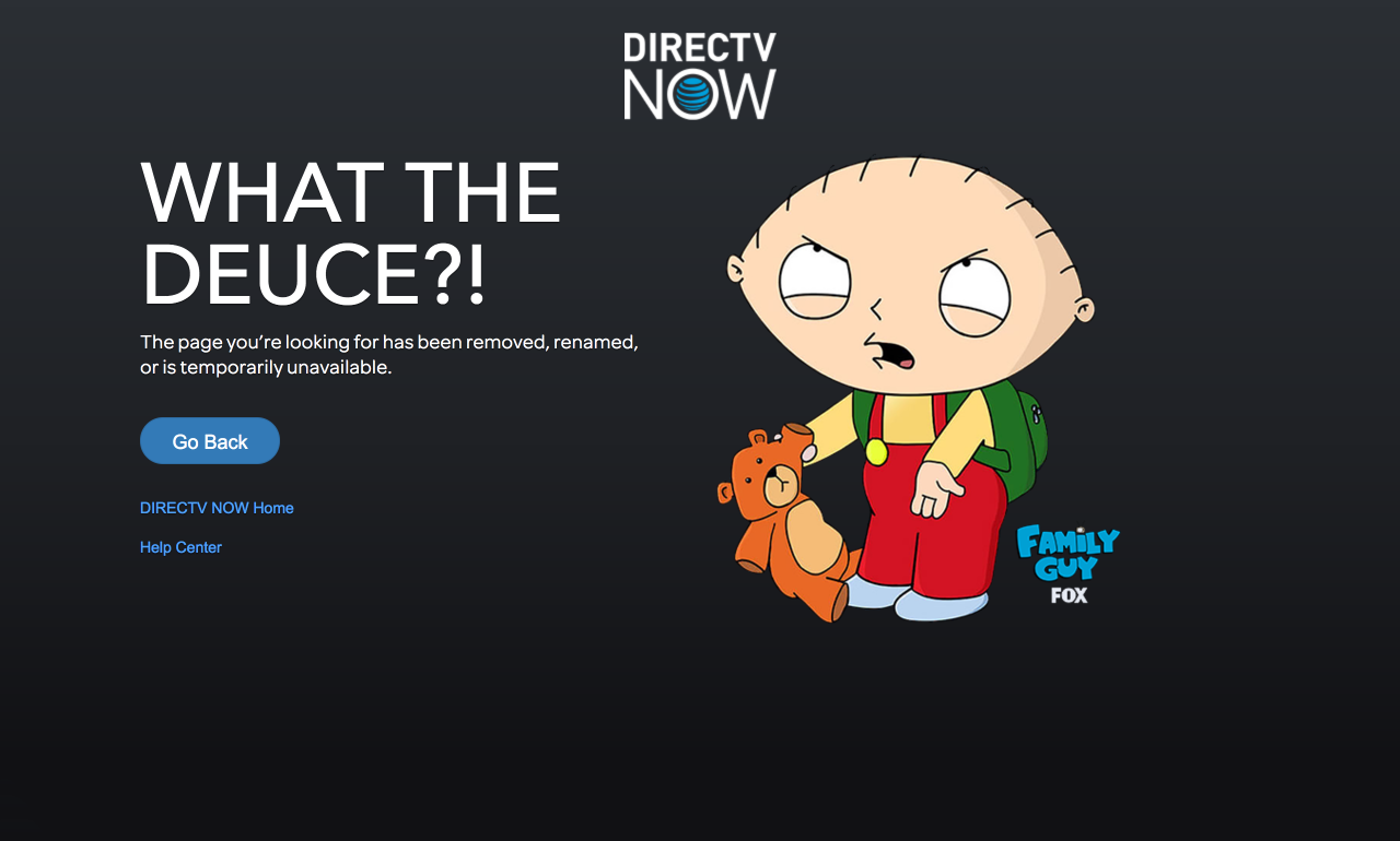 DirecTV Now 404 Page - 7 Creative 404 Pages & The Best Practices For Yours